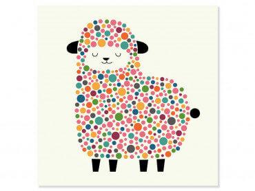 Tableau enfant mouton à pois