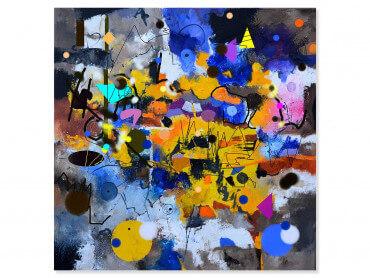 Tableau abstrait circle yellow blue