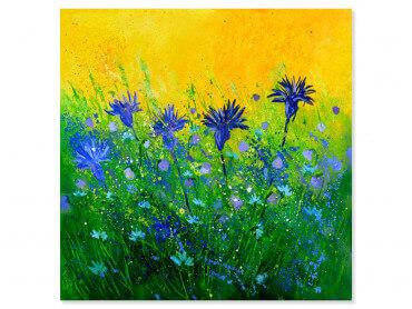 Tableau fleurs bouquet de fleurs bleues