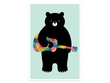 Affiche enfant rock and roll bear