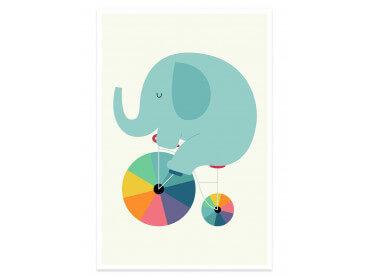 Affiche enfant elefant circle