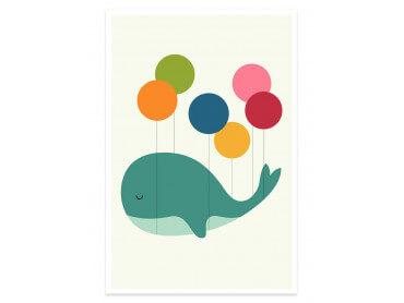 Affiche enfant baleine ballon