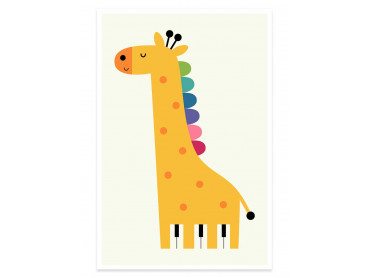 Affiche enfant girafe colorée