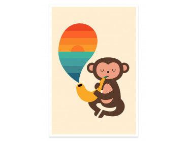 Affiche enfant monkey banana