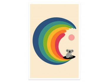 Affiche enfant surf and koala