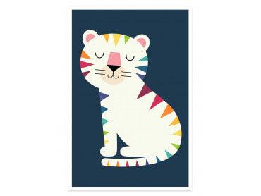 Affiche enfant tigre en arc en ciel