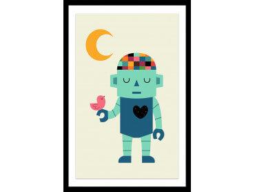 Affiche enfant coeur de robot