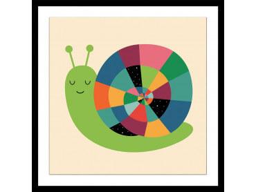 Affiche enfant rainbow escargot