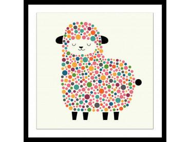Affiche enfant mouton à pois