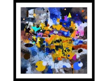 Affiche abstrait circle yellow blue
