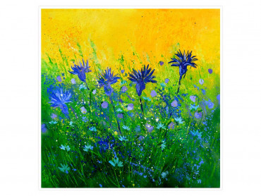 Affiche fleurs bouquet de fleurs bleues