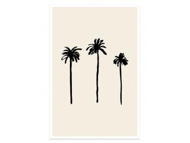 Affiche deco three black palm tree