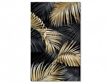 Tableau Deco Jungle feuillage or - 50x80cm