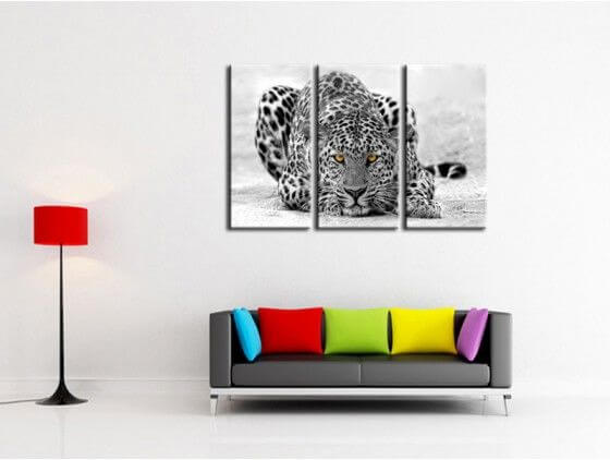 tableau d co animaux leopard noir et blanc achat en ligne hexoa. Black Bedroom Furniture Sets. Home Design Ideas