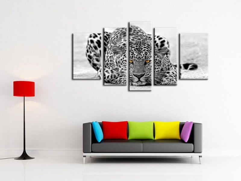 tableau d co animaux leopard noir et blanc achat en. Black Bedroom Furniture Sets. Home Design Ideas