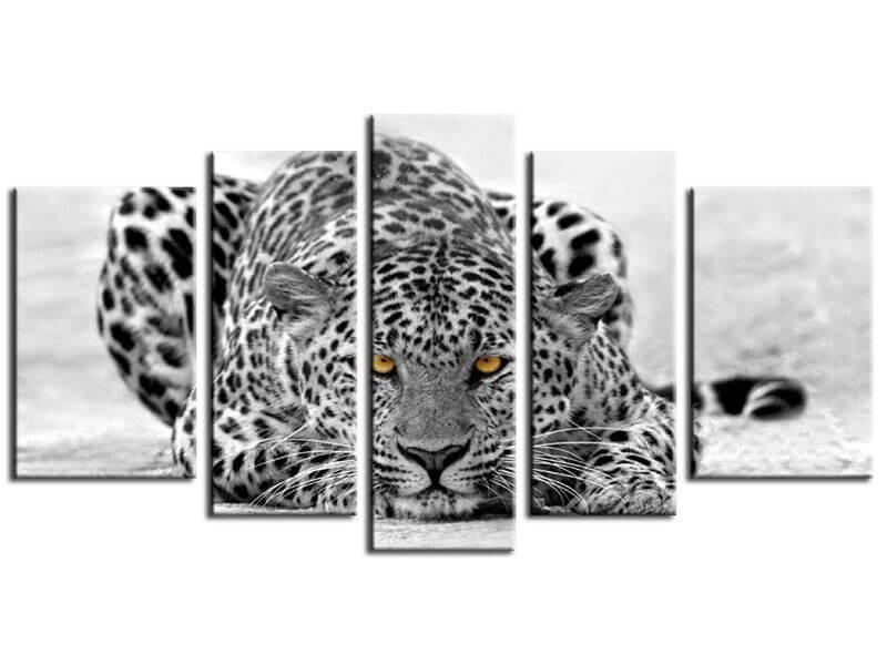 Tableau d co animaux leopard noir et blanc achat en for Tableau portrait noir et blanc