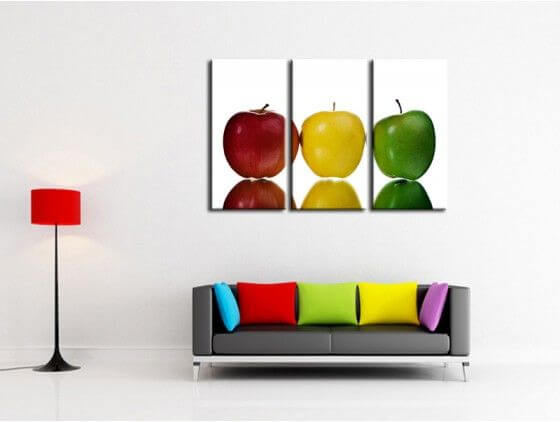 d coration murale cuisine vente cadre pomme tricolore pas cher. Black Bedroom Furniture Sets. Home Design Ideas