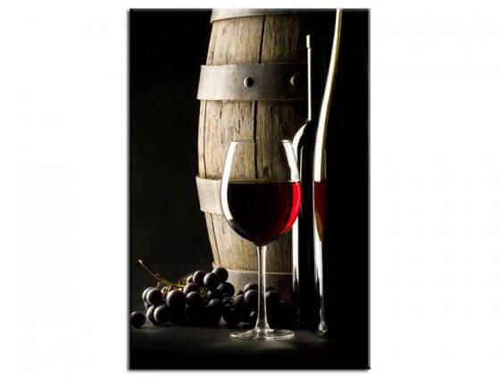 Tableau déco tonneau et verre de vin rouge