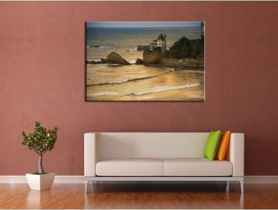 Tableau déco photo plage de Biarritz et la villa Belza