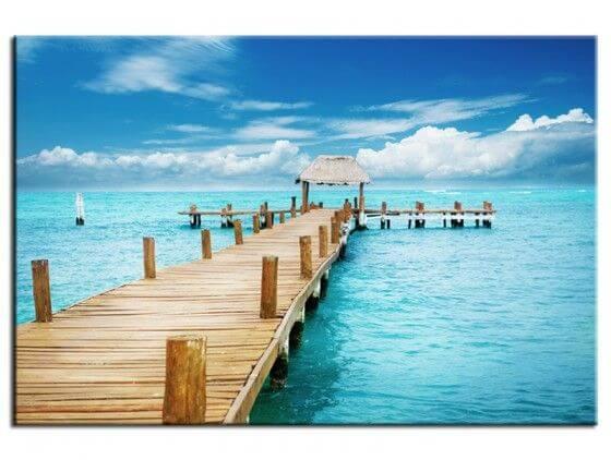 Tableau paysage jetée sur isla mujeres