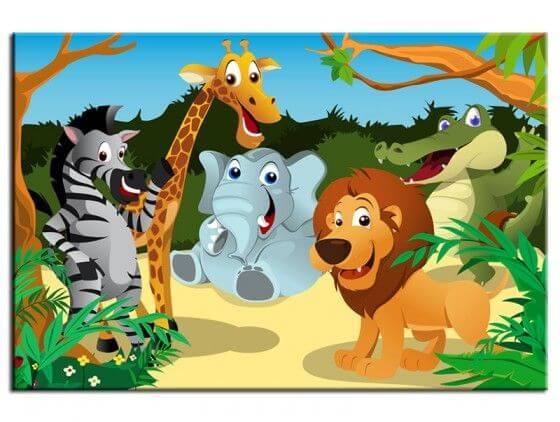 Tableau enfant les animaux de la jungle