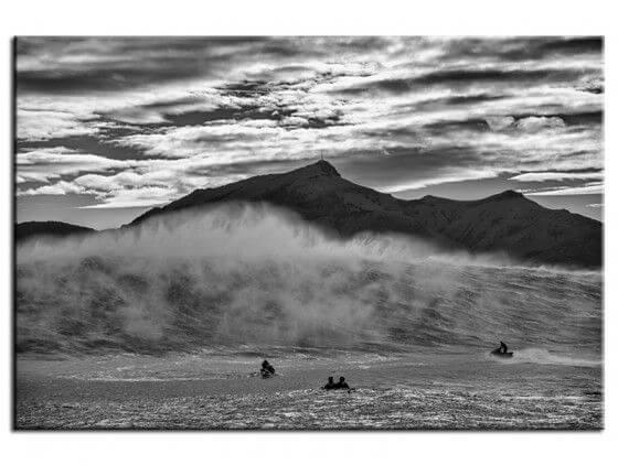 Tableau noir et blanc deco surf Belharra