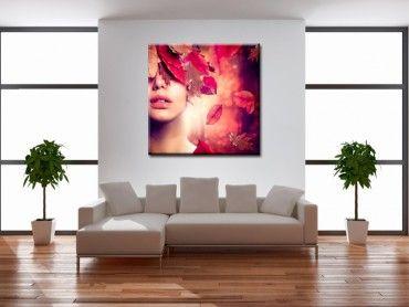 Tableau déco silhouette femme couleurs automne
