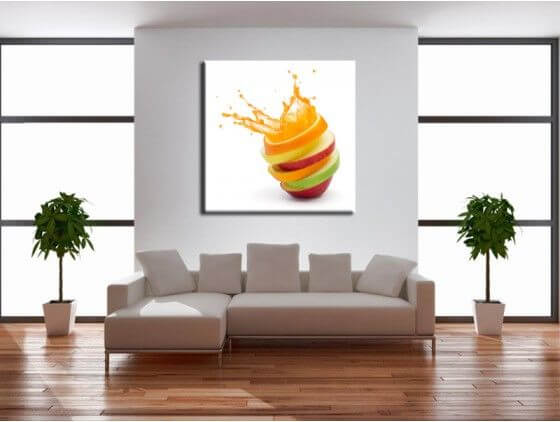 Tableau cuisine explosion de fruits d coration murale design for Decoration murale cuisine moderne