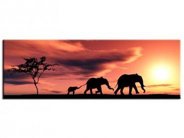 Tableau peinture africaine famille éléphants