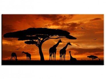 Tableau peinture ethnique famille girafes