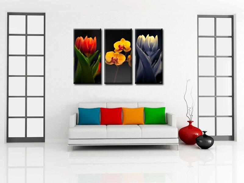tableau triptyque fleurs moderne d coration murale pas ch re. Black Bedroom Furniture Sets. Home Design Ideas