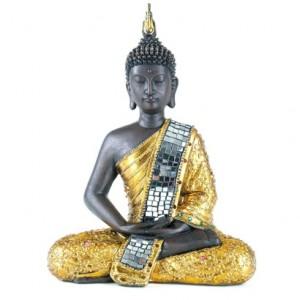 Charmant Statuette Bouddha Or Et Paillettes